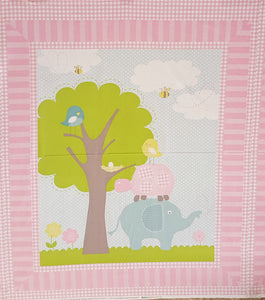 Elephant 100% Cotton Baby Panel Fabric