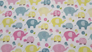Elephant Sweet Meadow Allover 100% Cotton Fabric