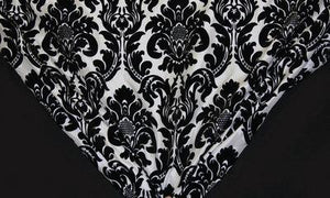 "60"" White & Black Flocked Taffeta Fabric"