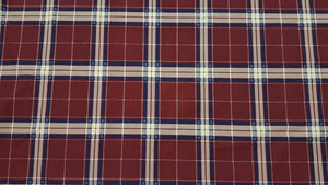 "102"" Burgundy & Navy Plaid EXTRA WIDE Percale Sheeting Fabric"