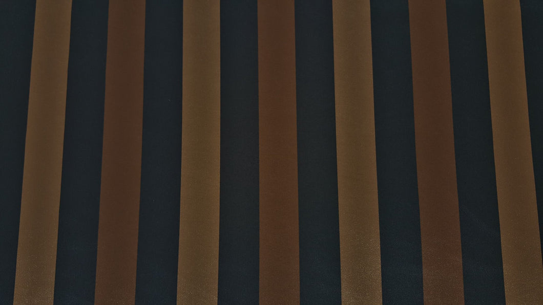 Discount Fabric FAUX SILK Chocolate, Deep Navy & Antique Gold Stripe Drapery