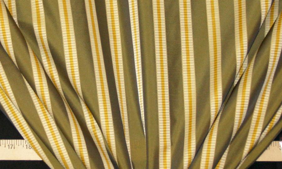 Discount Fabric FAUX SILK Olive & Gold Stripe Drapery