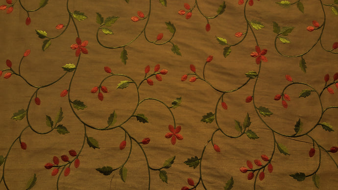 Rust & Dark Olive Floral Embroidered Taffeta Fabric