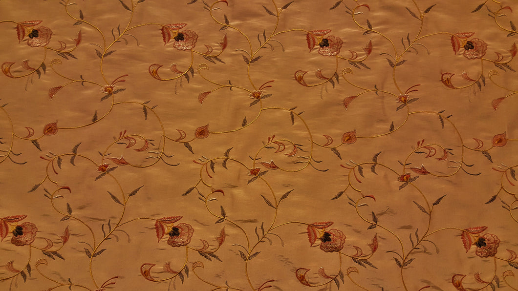 Gold, Rust & Chocolate Brown Floral Embroidered Taffeta Fabric