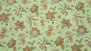 "102"" Tan & Sage Floral EXTRA WIDE Percale Sheeting Fabric"