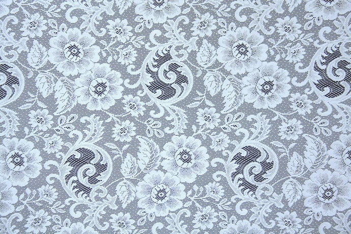 Discount Fabric LACE White Floral & Scroll Curtain & Tablecloth