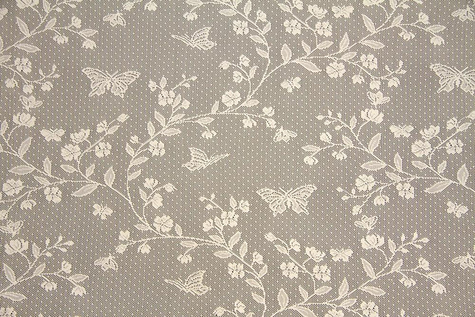 Discount Fabric LACE Ivory Floral & Butterfly Curtain & Tablecloth