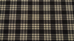 "102"" Black & Cream Plaid EXTRA WIDE Percale Sheeting Fabric"