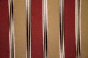 "55"" Chili Red & Tan Striped Indoor & Outdoor Fabric"