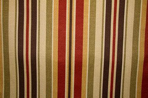 "55"" Paprika/Olive/Chocolate Striped Indoor & Outdoor - SALE FABRIC - 10 Yards"