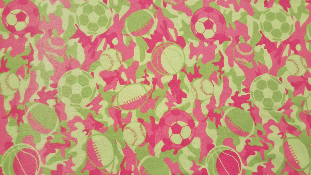 Sport Green & Pink Camouflage Double Napped Flannel