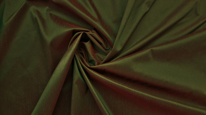 Discount Fabric FAUX SILK Dark Sage & Red Shantung Dupioni Drapery