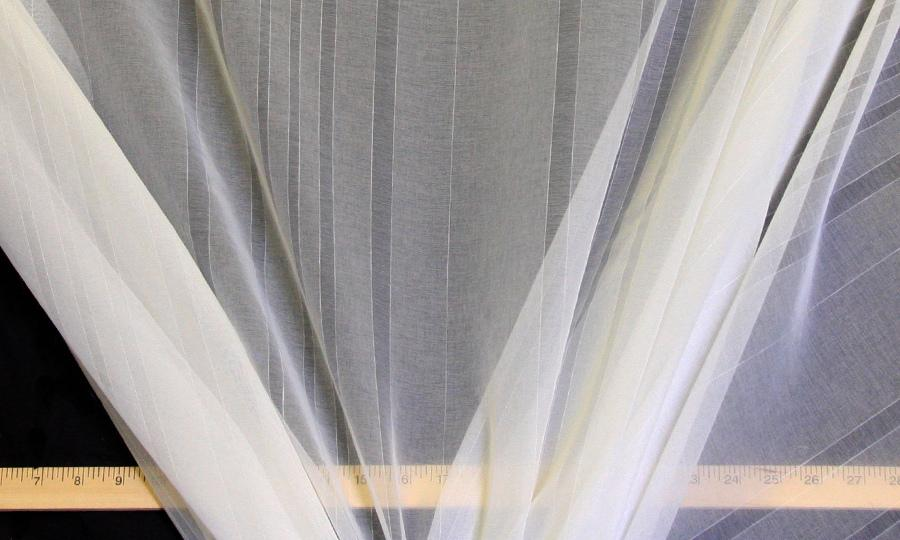 Discount Fabric SEMI-SHEER Ivory Stripe Drapery