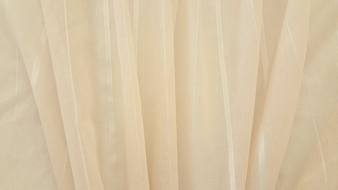 Discount Fabric SEMI-SHEER Light Taupe Satin Stripe Drapery