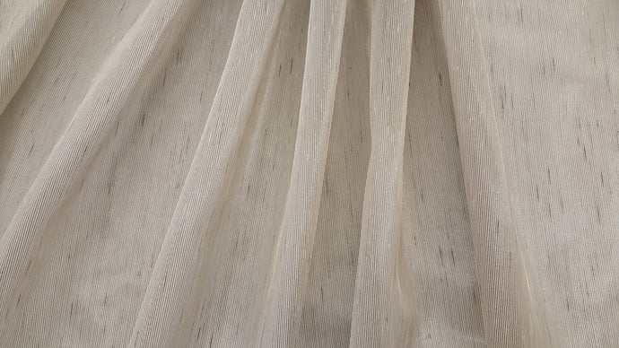 Discount Fabric SEMI-SHEER Gray & Tan Stripe Drapery