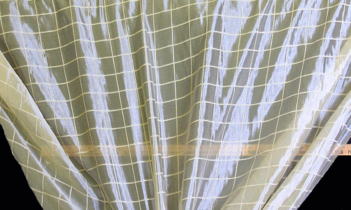 Discount Fabric SHEER Creme Window Pane Drapery