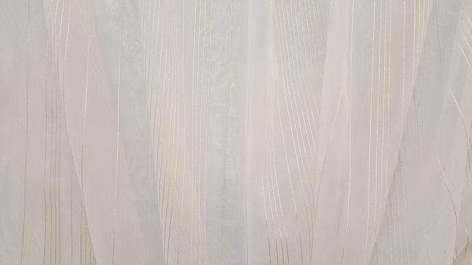 Discount Fabric SEMI-SHEER Light Champagne & Honey Stripe Drapery