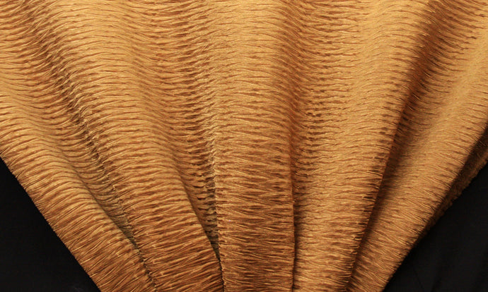 Antique Gold Wavy Crushed Taffeta Fabric