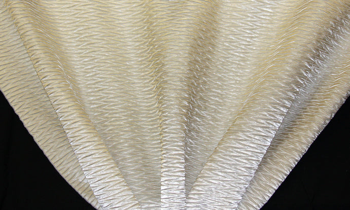 Ivory Wavy Crushed Taffeta Fabric