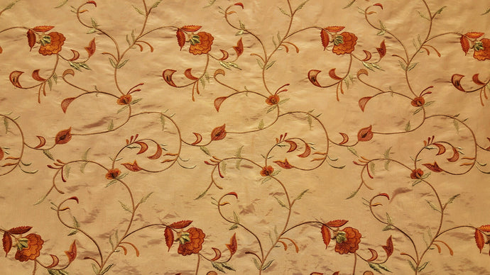 Beige, Rust & Sage Floral Embroidered Taffeta