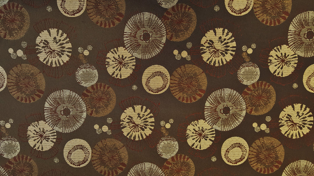 Discount Fabric JACQUARD Chocolate Brown Circle Burst Upholstery & Drapery