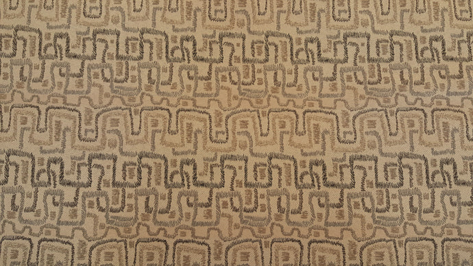 Discount Fabric JACQUARD Honey, Gray & Brown Abstract Upholstery & Drapery