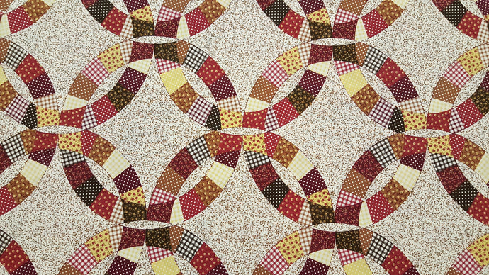 Double Wedding Ring Brown & Burgundy Cheater's Quilt Fabric