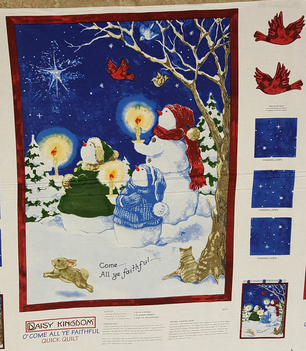 O' Come All Ye Faithful Christmas WALL HANGING 100% Cotton Fabric