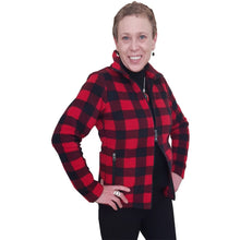 LADIES FITTED ZIP CARDIGAN BUFFALO CHECK RED Made in Canada