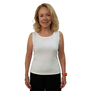 LADIES ROUND NECK TANK TOP WHITE Made in Canada