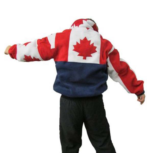 YOUTH MAPLE LEAF PATCHWORK BOMBR NAVY Made in Canada