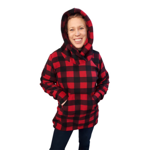LADIES HOODED TUNIC BUFFALO CHECK RED Made in Canada