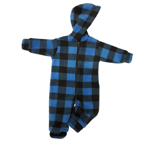 INFANT HOODED ONESIE BUFFALO CHECK BLUE Made In Canada