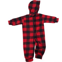INFANT HOODED ONESIE BUFFALO CHECK RED Made in Canada