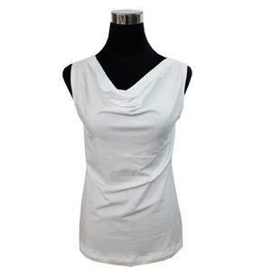 LADIES SCOOP NECK TANK TOP WHITE Made in Canada