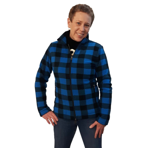 LADIES FITTED ZIP CARDIGAN BUFFALO CHECK BLUE Made in Canada