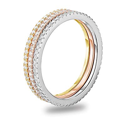 Set of 3 Stackable Eternity Ring Clear Cubic Zirconia Tri-Color Plated Sterling Silver 925  - CariWare