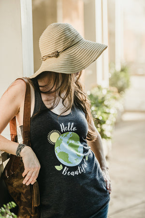 Hello Beautiful - Women's Eco Racerback Tank