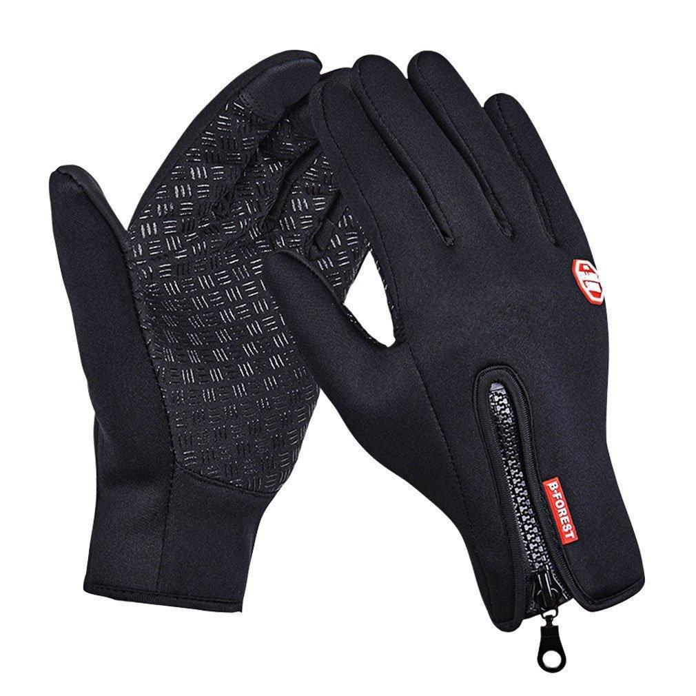 GEREE Cycling Gloves Full Finger Touchscreen in Winter Outdoor sports Windproof Black gel bike Gloves Adjustable Size - Allwaystore