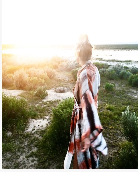 "Amy Gabriel wears a Highway Robery ""Newtopia Rising"" robe"