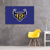 One piece Baltimore Ravens Logo on blue background canvas wall art - Canvas Monsters