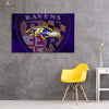 One piece Baltimore Ravens Blue background canvas wall art - Canvas Monsters