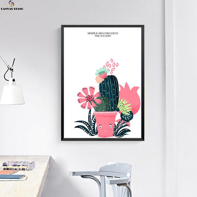 Canvasstand Cactus flower Nordic simple life wall decor canvas wall art - Canvas Monsters