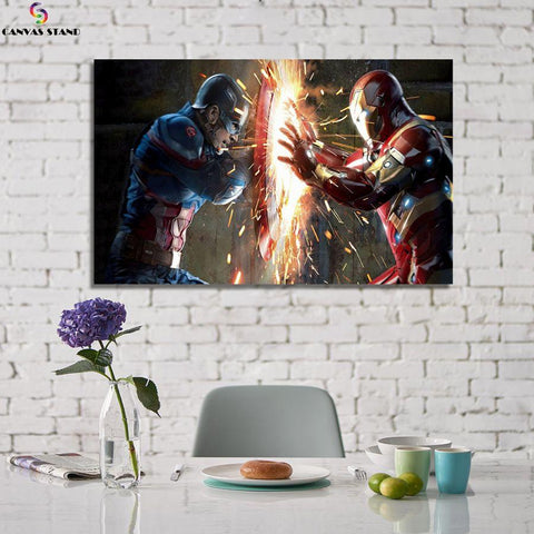 Image of Captain America vs Iron man canvas wall art