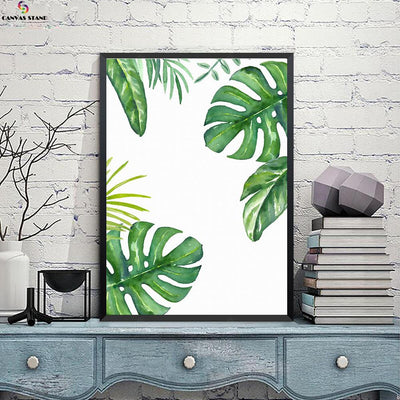 Canvasstand Three directions leaves wall decor canvas wall art - Canvas Monsters