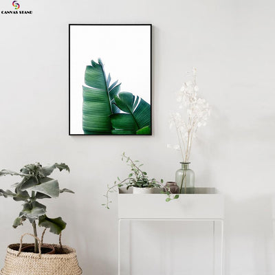 Canvasstand Two green leaves wall decor canvas wall art - Canvas Monsters