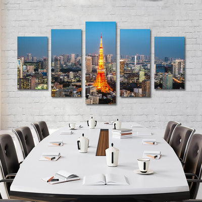 5PCS tokyo tower canvas prints - Canvas Monsters