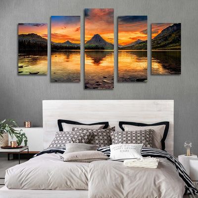 5PCS lake sunset canvas prints