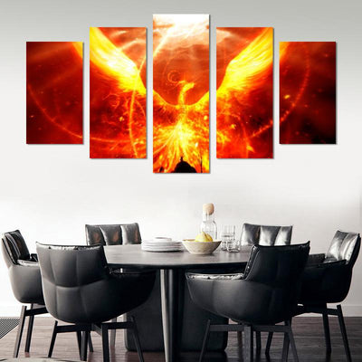 Phoenix From The Flames Canvas Wall Art