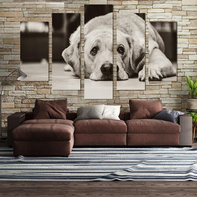 5PCS Cute Golden Retriever Canvas Wall Art